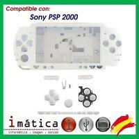CARCASA COMPLETA PARA SONY PSP 2000 2004 BLANCO BLANCA NUEVO FINA PLAY STATION