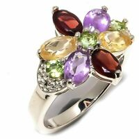 Peridot  Amethyst  Garnet  Citrine Gemstone 925 Sterling Silver Ring Size 8