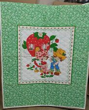 "Strawberry Shortcake Baby Quilt Blanket About 44"" x 35"" Finished Has Issue"