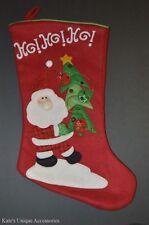 """18"""" Santa and Christmas Tree Stocking XMAS Decoration GIFT IDEA HO! HO! HO! NEW"""