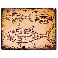 PP0210 Rust Vintage Fish Tuna Chart Home Shop Cafe Room Wall Interior Decor