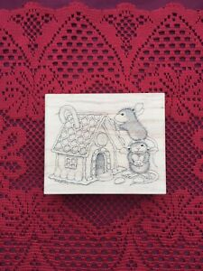 Rare Vintage House Mouse Designs Christmas Rubber Stamp Cottage Gingerbread