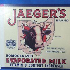 Jaeger's Evaporated MILK Can Dairy Cow LABEL Columbus OHIO Original Vintage