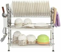 Over Sink Dish 3 Tier Dish Drying Drainer Organizer Rack 304 Stainless Steel