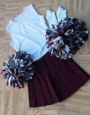 "Adult Maroon White Cheerleader Uniform Top Skirt Poms Socks 36-38/31-32"" Cosplay"