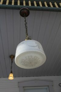 GREAT ANTIQUE ART DECO PENDANT LIGHT FIXTURE GLASS SHADE WITH URN DRAPERY DESIGN