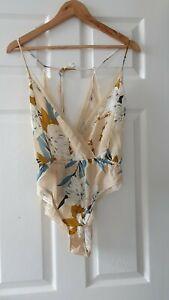 Zara Printed Bodysuit with Lace, Size M, BNWT
