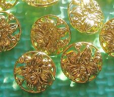 LOVELY Set 12 PIERCED Vintage New Gold tone metal FLOWER Picture buttons