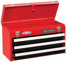 Metal Tool Box Portable Mechanic Toolbox Organizer Storage Cabinet 3 Drawers Red