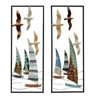 Metal Birds and Sailboats Wall Plaques,Perfect Nautical Decor SET OF TWO