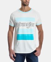 Wrangler Mens T-Shirt White Blue Size 2XL Graphic Logo Ringer Tee $39- #196