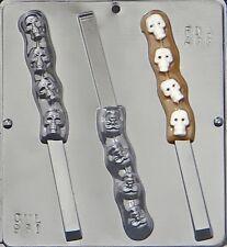 Skulls on Pretzel Rod Chocolate Candy Mold Halloween 961 NEW