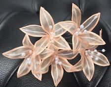 5 Wedding Prom  Shiny Light Peach Lily Flower Hair Pins Clips Grips handmade