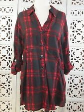 PLENTY BY TRACY REESE Small Red/Black 3/4 Sleeve Button Down Collared Tunic Top