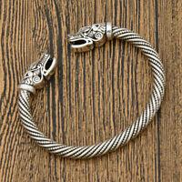 Vintage Viking Norse Wolf Head Open Bracelet Bangle Wristband Jewelry Beads Gift