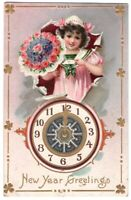 082720 VINTAGE TUCK NEW YEAR POSTCARD GIRL WITH CLOCK AND BOUQUET 1910