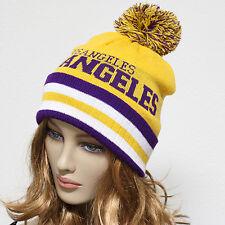 Knit Unisex Baggy Beanie Oversize Winter Hat Ski Pom Pom Los Angeles Cap Stripes
