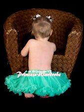 Newborn Baby Aqua Blue Pettiskirt Petti Skirt Dance Tutu Dress For Girl 3-12M