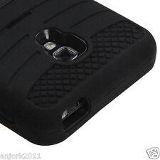 LG Optimus F6 Hybrid H Armor Case Skin Cover w/Stand D500 Black Black