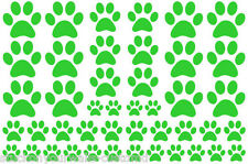 LIME GREEN PAW PRINTS VINYL WALL DECAL STICKER-3 sheets total 66 pieces DOG CAT