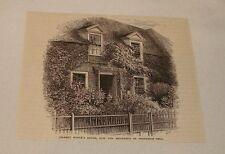 1877 magazine engraving ~ FRONT OF GILBERT WHITE'S HOUSE, Selborne