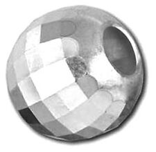 1 STERLING SILVER FACETED DISCO / MIRROR ROUND SPACER BEAD, 6 MM