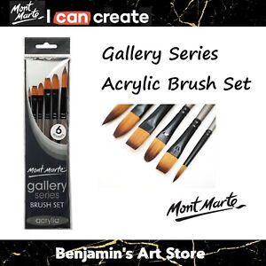 6pc AU Mont Marte Gallery Series Acrylic Paint Brushes Artist Brush Set Taklon