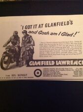 L4-3 Ephemera 1959 Advert Glanfield Lawrence Motor Bikes Gosh I Am Glad