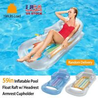 """59"""" Swimming Pool Floating Water Lounge Chair Inflatable Float Rafts Headrest"""