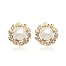 ITALINA 18K ROSE GOLD PLATED GENUINE AUSTRIAN CRYSTAL & WHITE PEARL EARRINGS