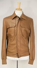$6500 BERLUTI Brown Perforated Leather Zip-Front Blouson Jacket S 38 48