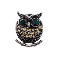 DIY 2Colors  Owl Rhinestone metal  18MM Button Snap chunk Jewelry MDB18-61