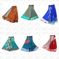 5 PC Vintage Silk Skirts Bohemian Indian Women Flamenco Hippie Wholesale Rate