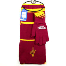 CLEVELAND CAVALIERS NBA KNIT SCARF & GLOVES GIFT SET 2 TONE STRIPE NWT NEW