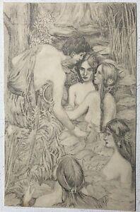 Vintage Original Man Women Nude Forest Garden Pencil Drawing Fine Art Bathing