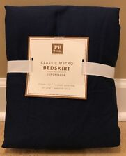 "NEW Pottery Barn Teen Classic Metro XL TWIN Bed Skirt NAVY 18"" Drop"