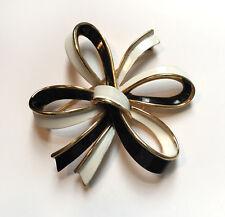 Vintage 70's TRIFARI Black White Enamel Gold Modern Bow Brooch