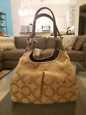 Nwt Coach Op Art Madison Maggie Sa Shoulder Bag Khaki Mahogany Lizard