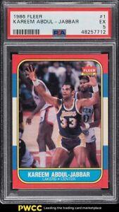 1986 Fleer Basketball Kareem Abdul-Jabbar #1 PSA 5 EX