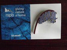 RSPB GNaH bluebell Metal Pin Badge on Blue FR Card