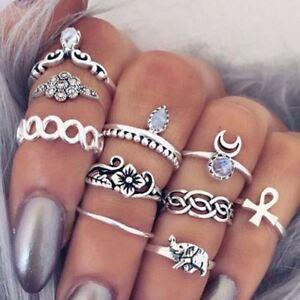 10pcs/Set Women Boho Elephant Knuckle Ring Midi Gothic Finger Rings Set Gift AU