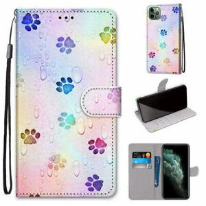 Footprint Flip Wallet Case For S9 S10 S20 11 12 XR Nokia Xiaomi LG ZTE Huawei