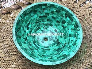 Green Marble Washbasin Malachite Semi Mosaic Inlaid Random Outdoor Decor M315A