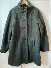 Ladies Green Funnel Neck Coat Size 18 'Teddy Bear Material' New