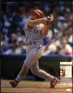 """Ivan """"Pudge"""" Rodriguez Signed 16x20 Texas Rangers Photo JSA COA Inscription"""