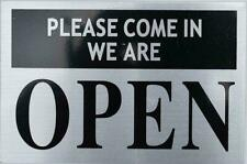 Please Come in We are Open Sign-Silver (Aluminium, 4X9,Double Sided.-ref0420