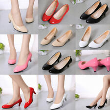 Womens Mid Heel Kitten Heel Pumps Ladies Court Office Work Pointed Toe Shoes