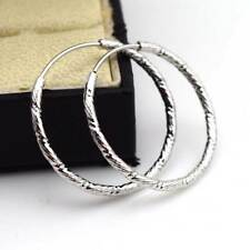 18k White Gold Filled Earrings 30mm Carved Hoop Rings Charms GF Fashion Jewelry