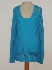 For Cynthia Turquoise Crochet Sweater w Matching Cami sz MED