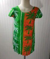 Jams World Vintage Hawaiian Print Palm Trees Mini Dress EUC Size Small
